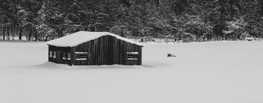Barn in a field of snow